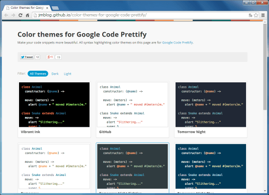 Color themes for Google Code Prettify